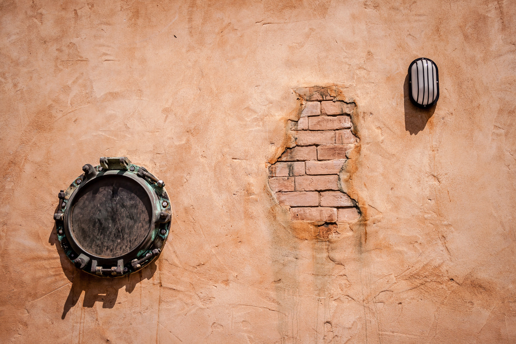 Detail of an exterior wall at Pirates Landing Restaurant, Port Isabel, Texas.