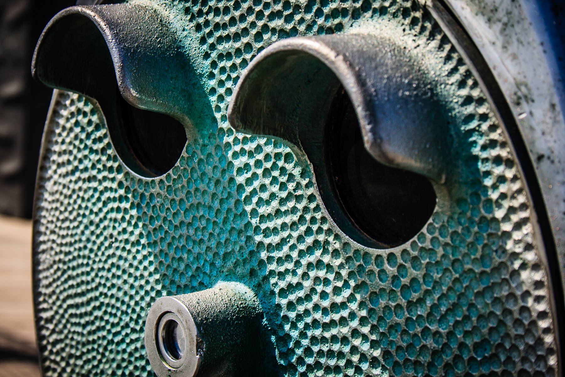 Coin-operated binoculars resemble the inquisitive eyes of a metal face in this picture taken in Port Isabel, Texas.