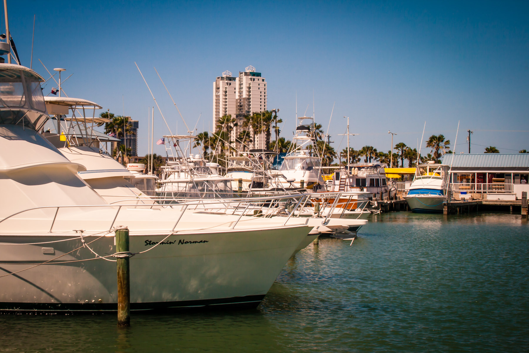 Boats docked in South Padre Island, Texas.