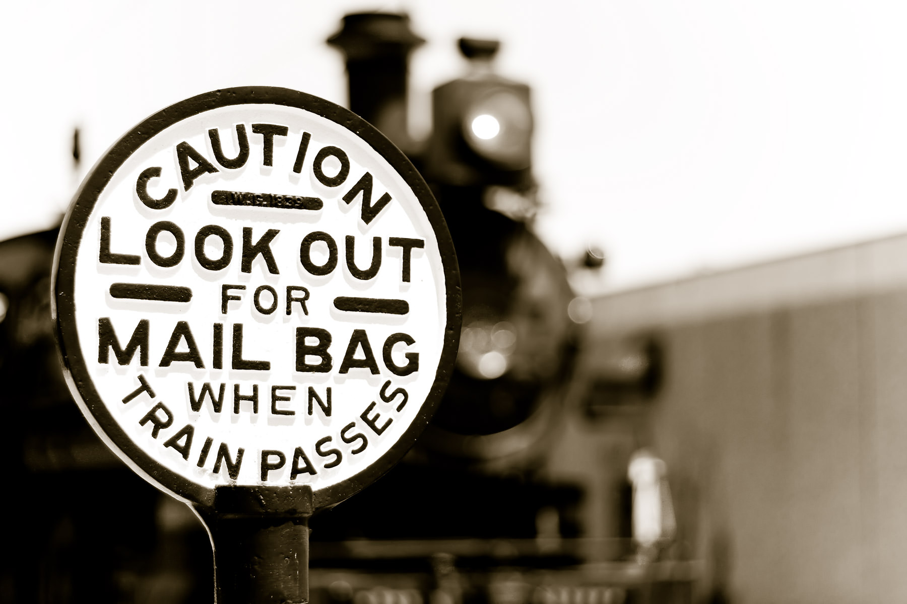 A mail sign at Grapevine Vintage Railroad, Grapevine, Texas.