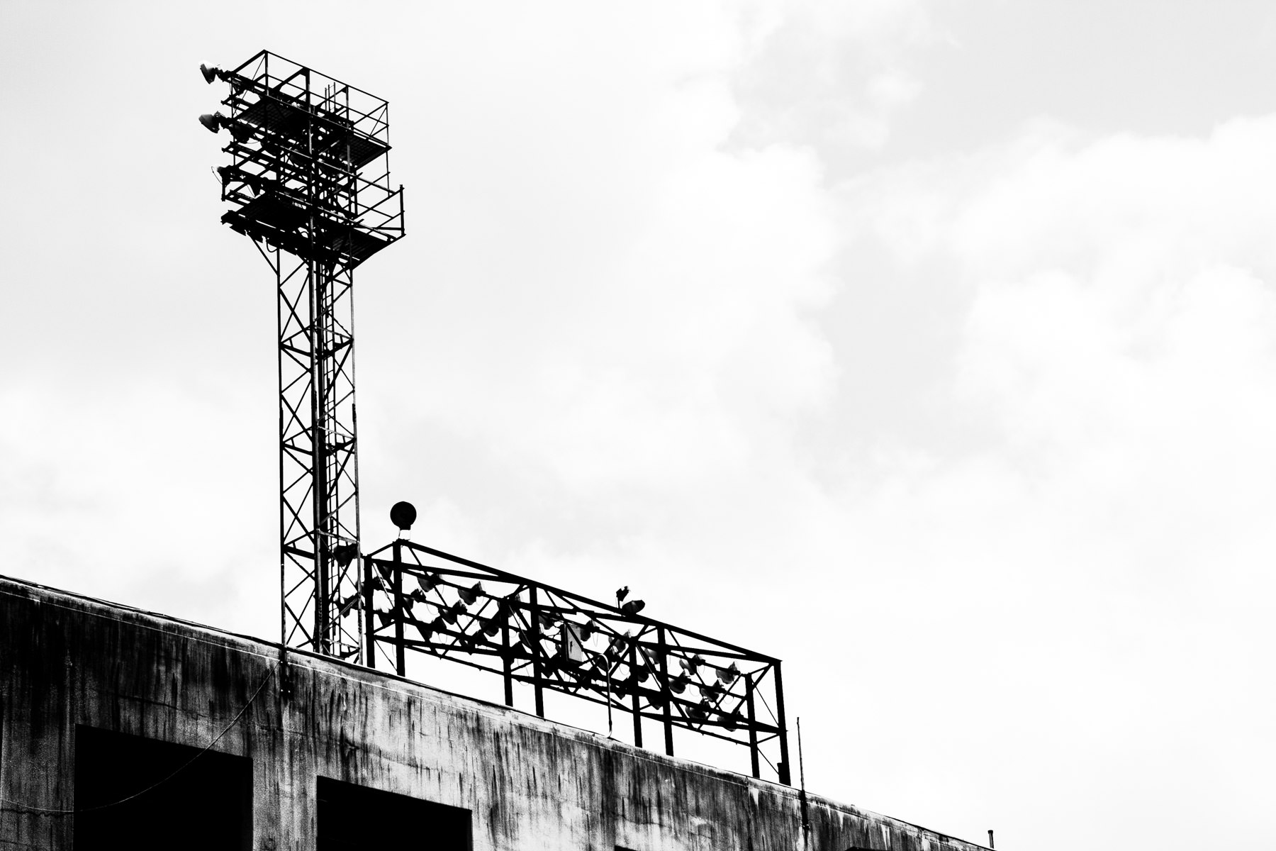 A light tower at the Cotton Bowl Stadium, Fair Park, Dallas, Texas.