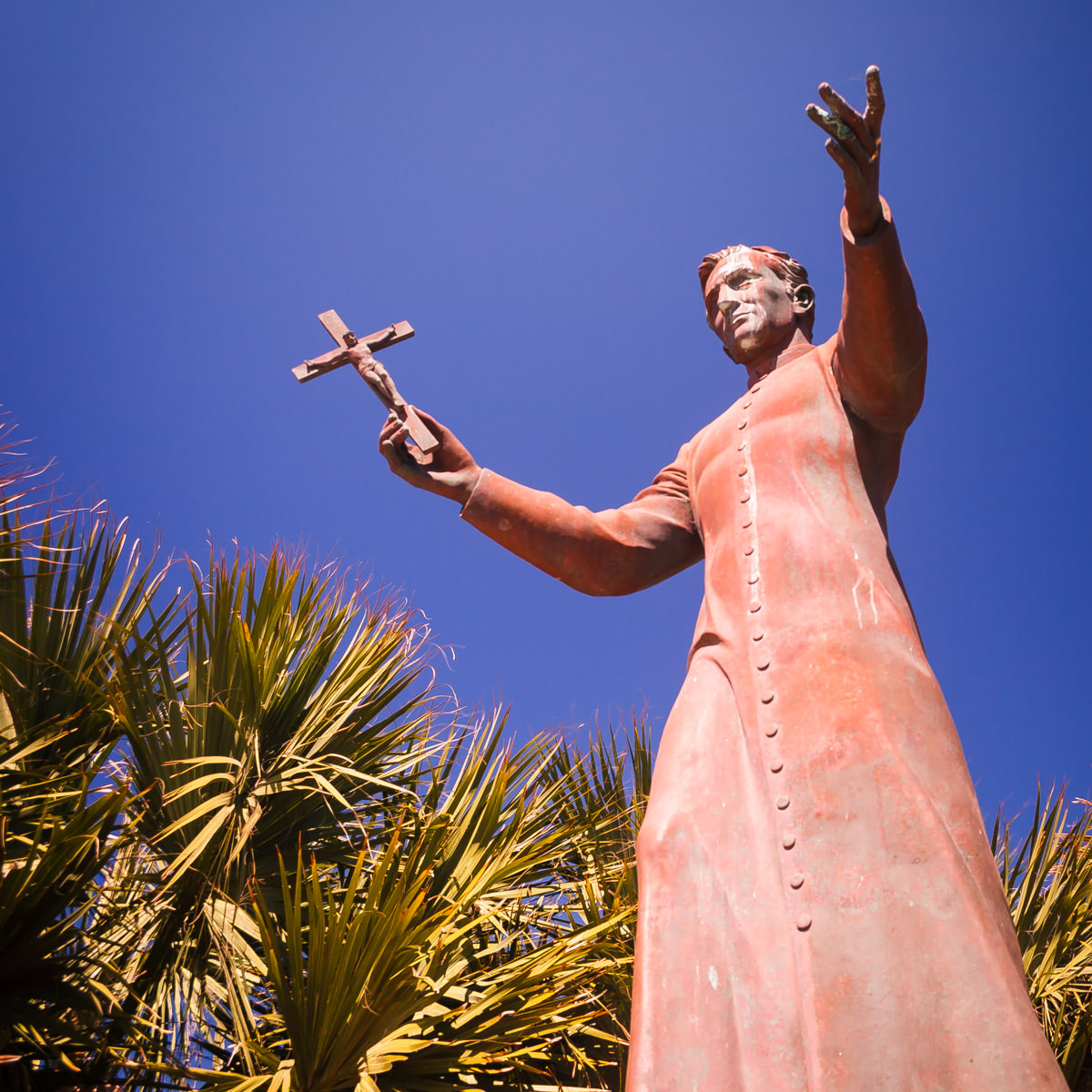 A statue of Padre Balli, priest and settler of South Padre Island, Texas.