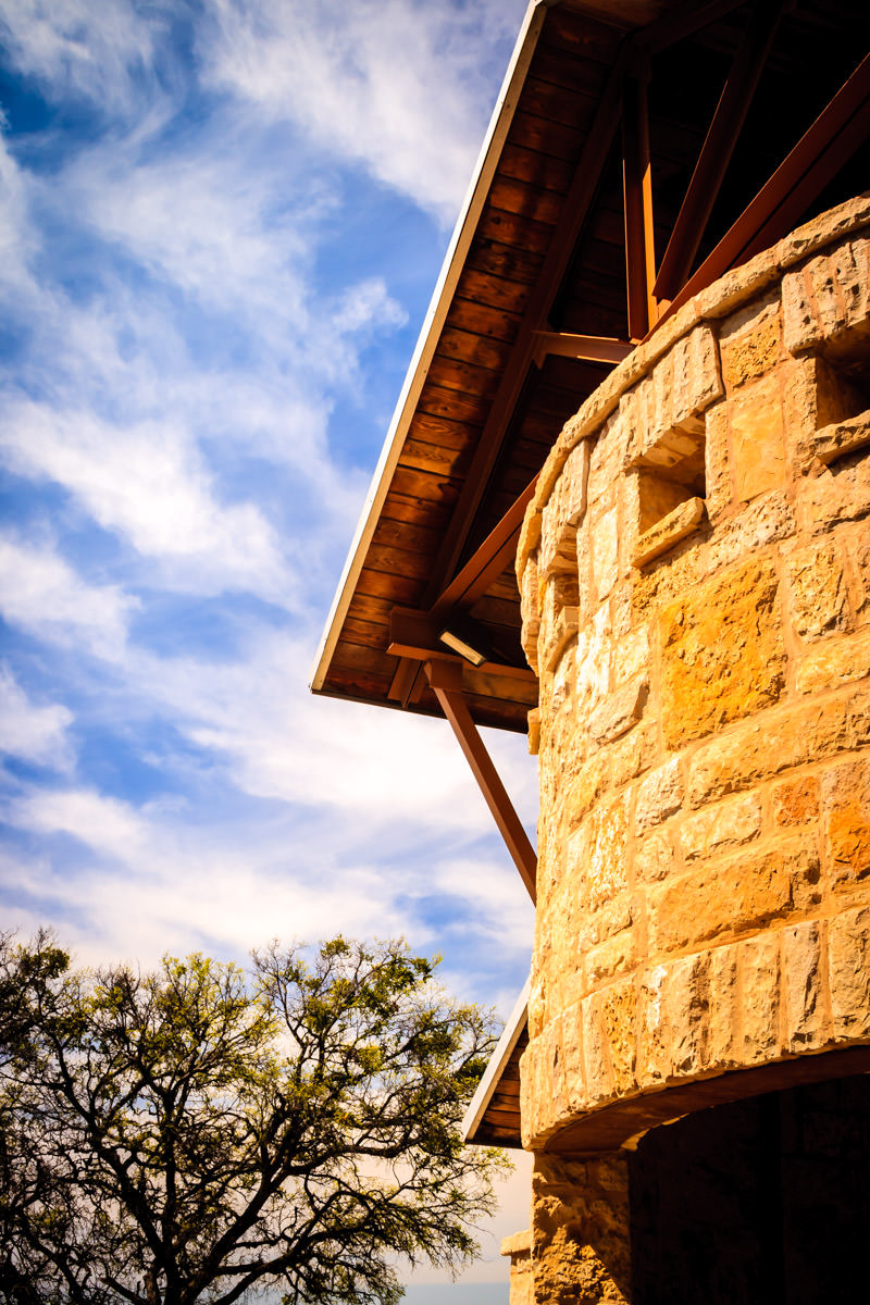 A stone turret offers a vantage point at Arbor Hills Nature Preserve in Plano, Texas.