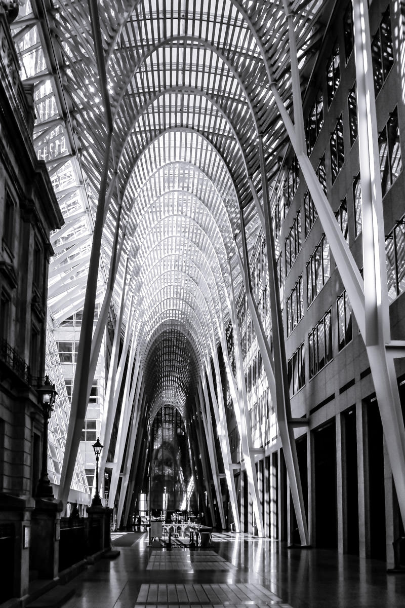 BCE Place, known as Brookfield Place, this Santiago Calatrava-designed atrium lies at the center of this Toronto office complex.