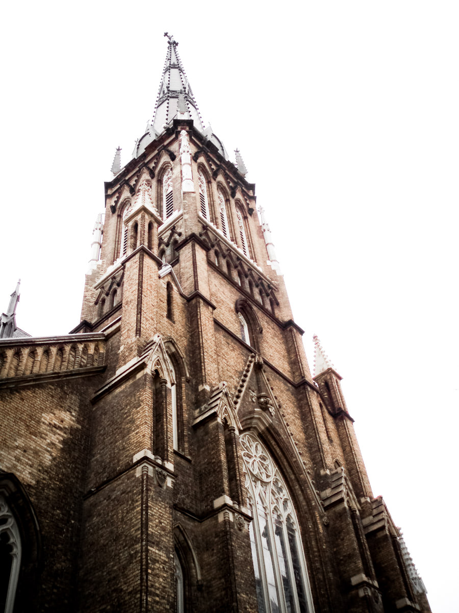 The Cathedral Church of St. James, opened in 1853, rises into the sky over Toronto.