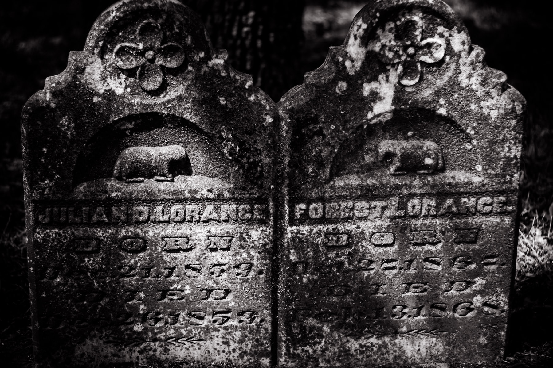 Headstones of long-dead brothers in Cleburne, Texas.