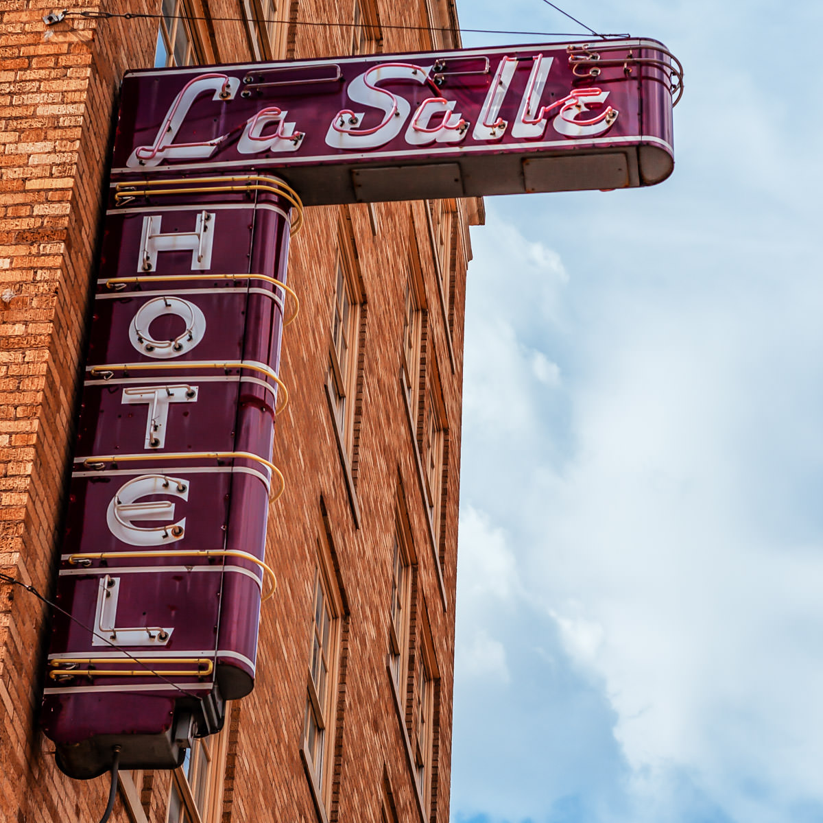 The sign of the La Salle Hotel in Downtown Bryan, Texas.