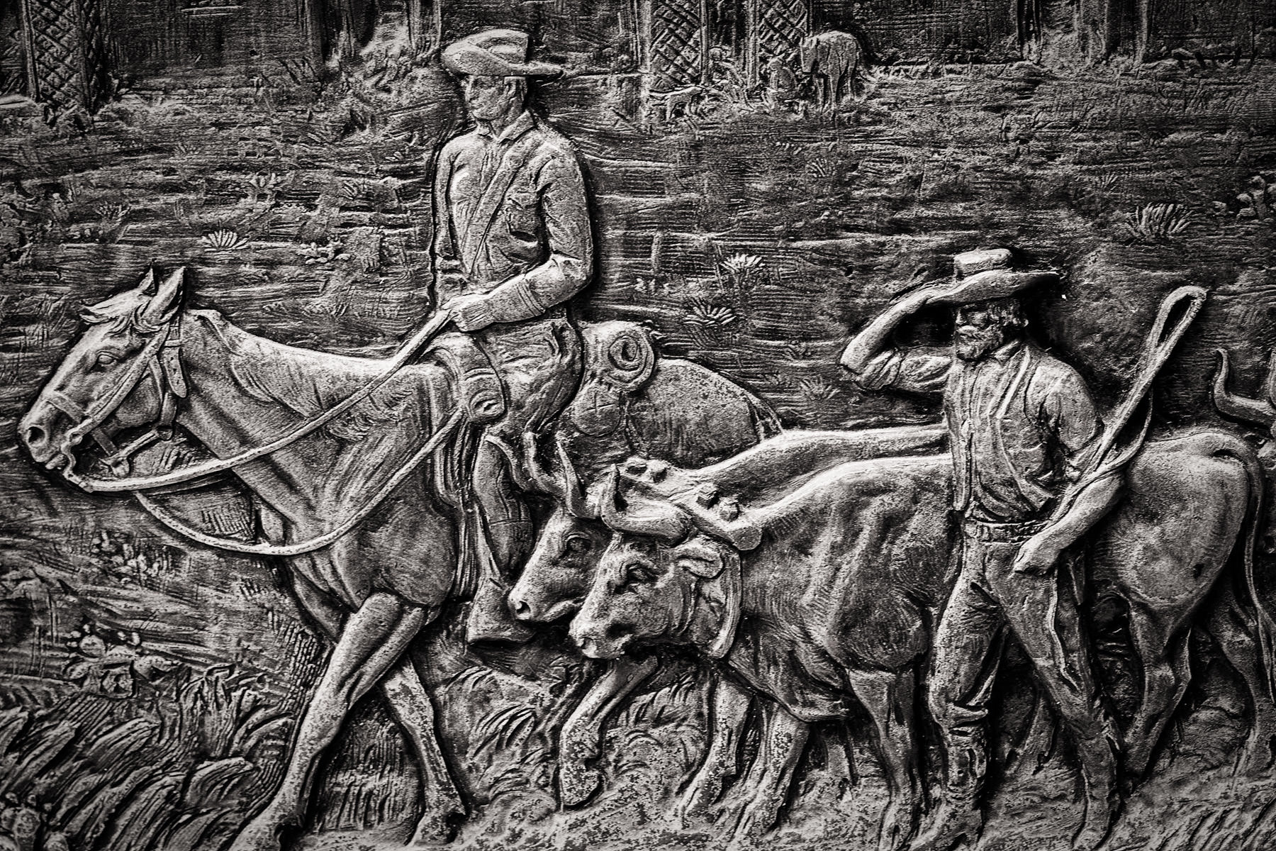 Detail of a plaque outside of Heritage Park, Fort Worth, Texas.