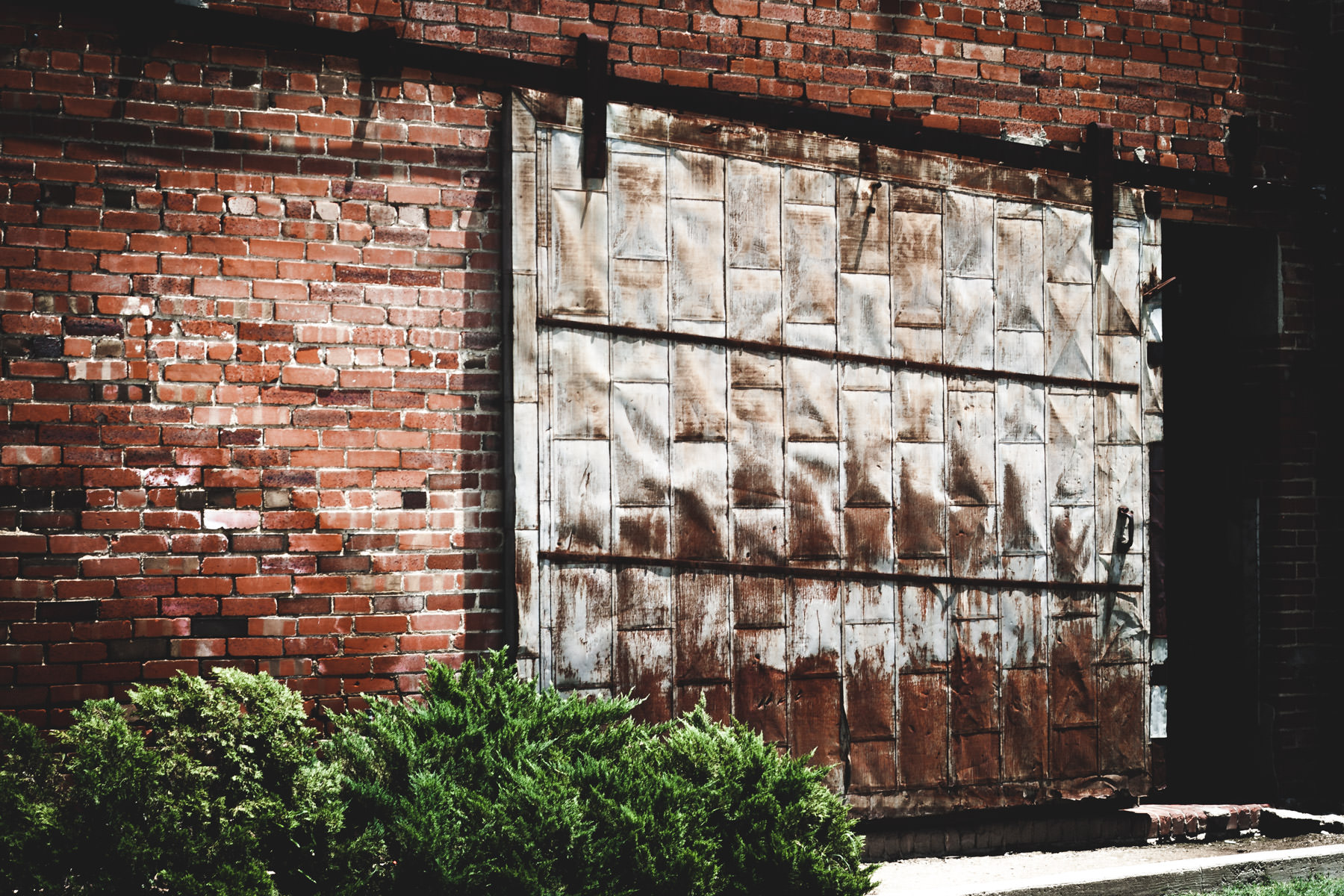 A warehouse door in the Fort Worth Stockyards.