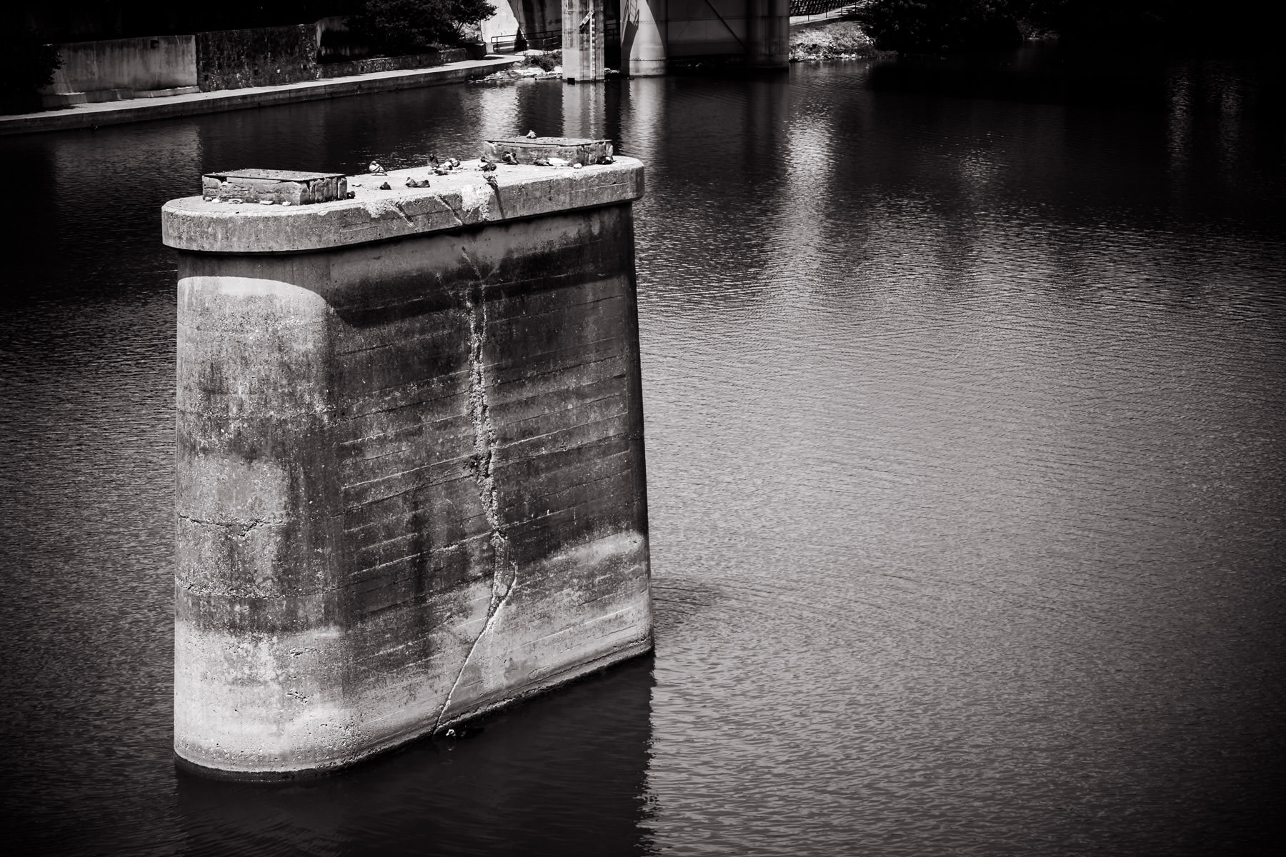 The support structure of a long-gone bridge on the Brazos River in Waco, Texas.