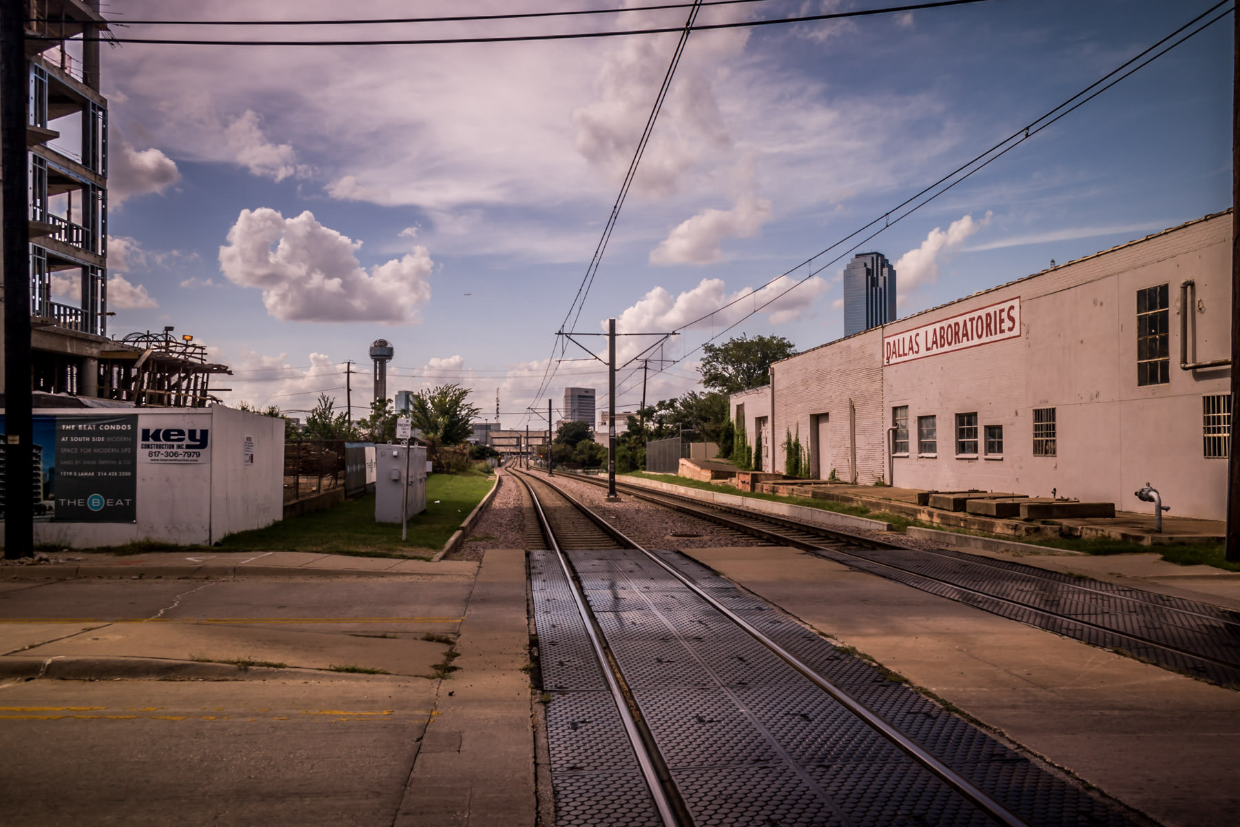 A DART Light Rail line runs through The Cedars neighborhood south of Downtown Dallas.