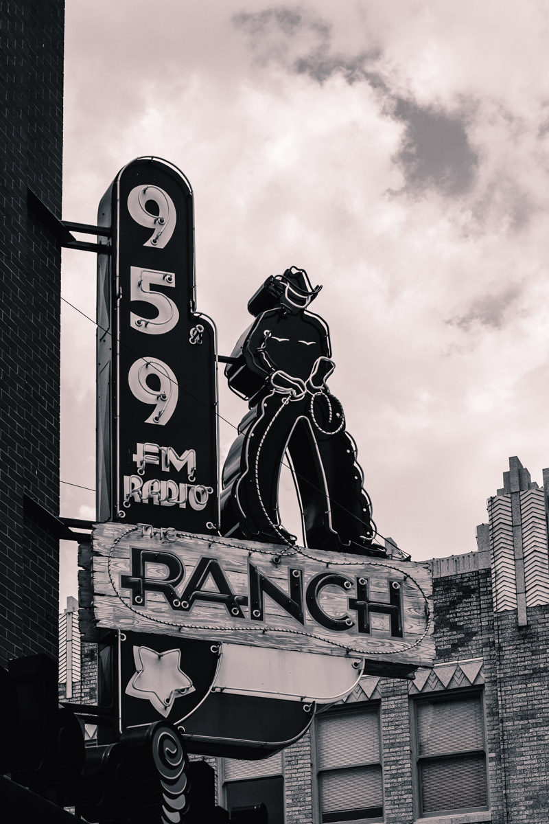 The sign for radio station KFWR - 95.9 The Ranch in Downtown Fort Worth, Texas.