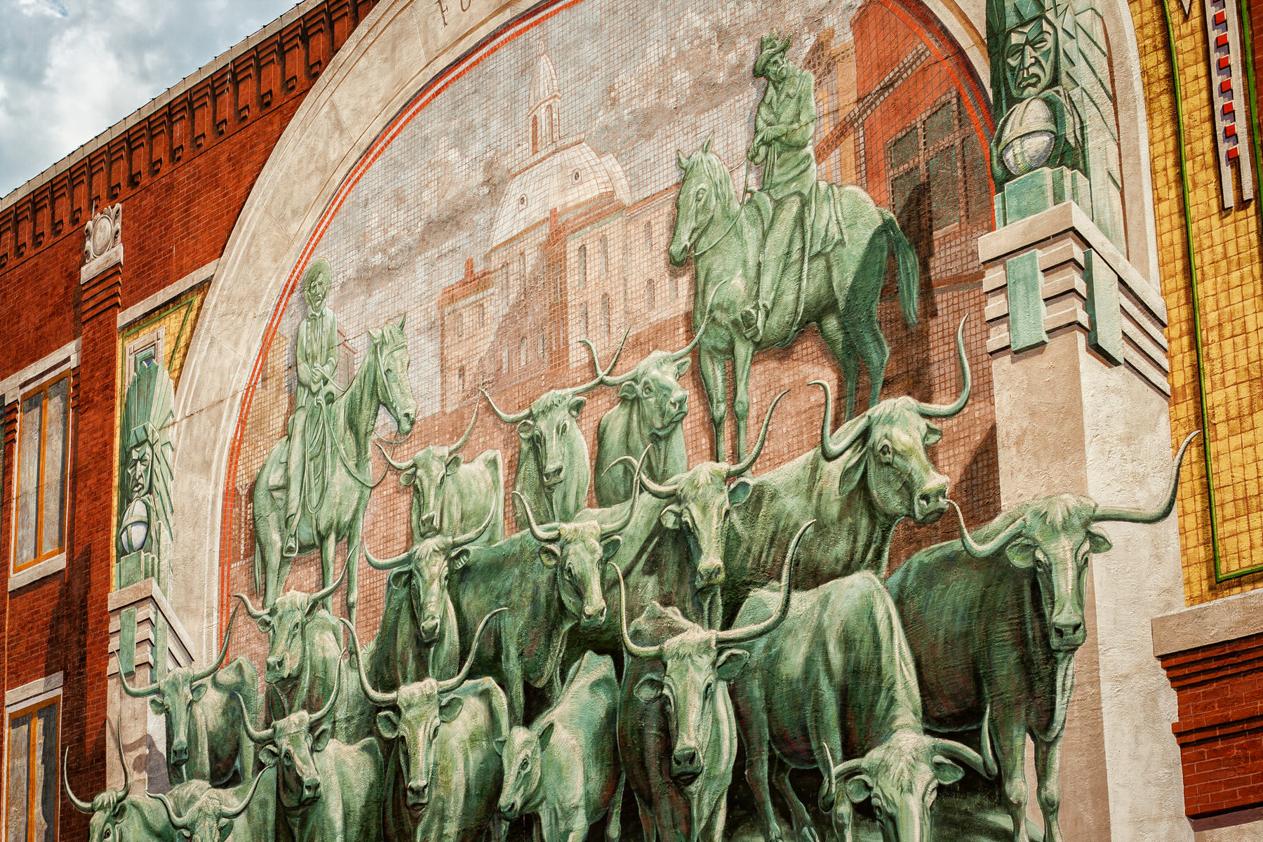 A mural of a cattle drive in Sundance Square, Fort Worth, Texas.