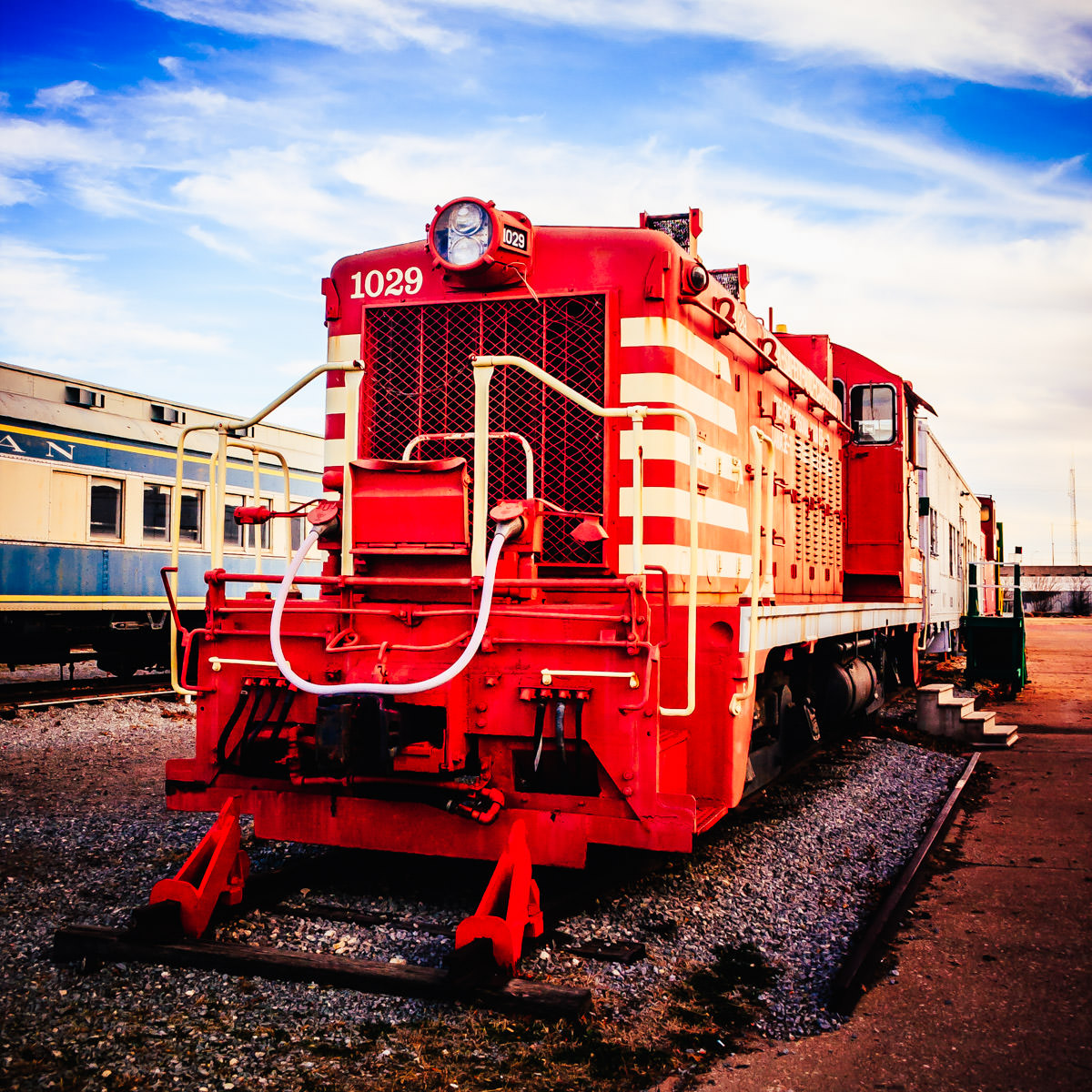 A GM NW-2 diesel-electric switch engine once operated by the Missouri-Kansas-Texas Railroad (The Katy) now in the collection of the Wichita Falls Railroad Museum, Wichita Falls, Texas.