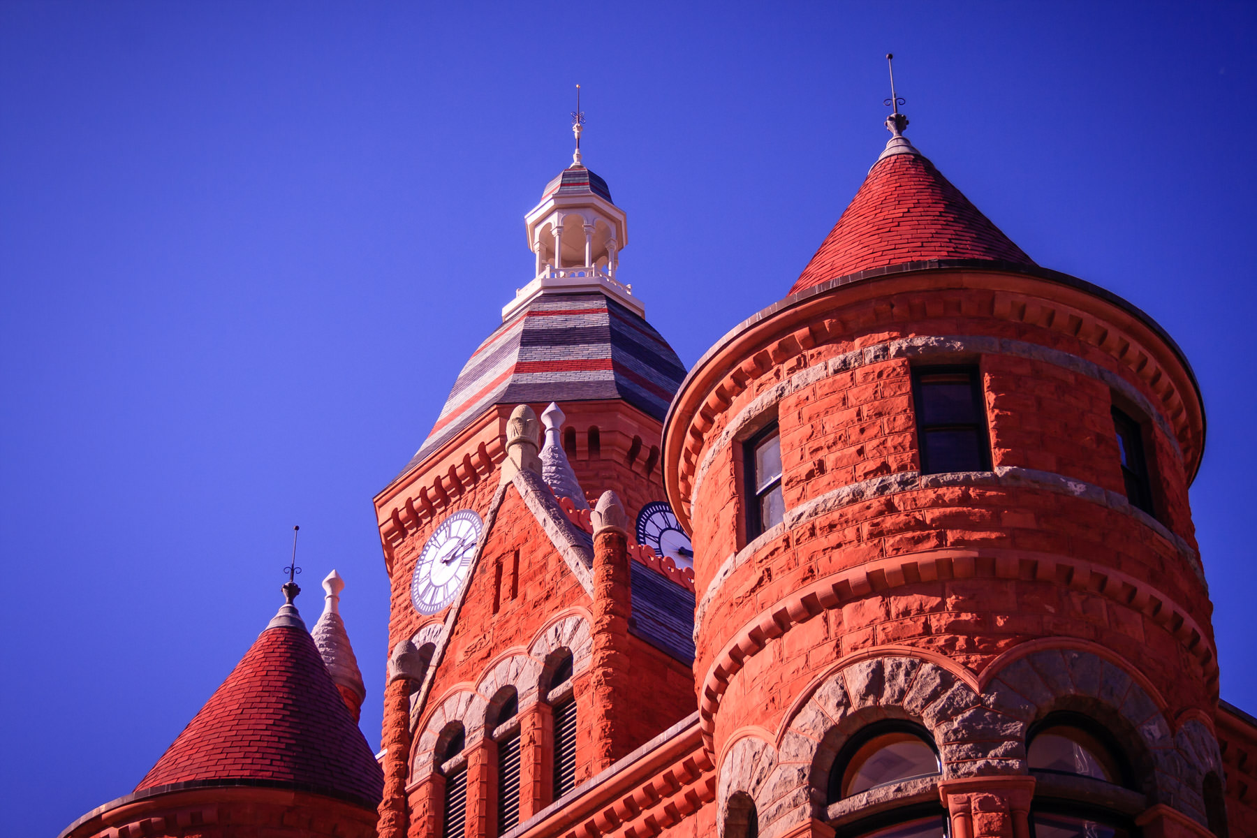"""The old Dallas County Courthouse, colloquially know as """"Old Red"""", Dallas, Texas."""
