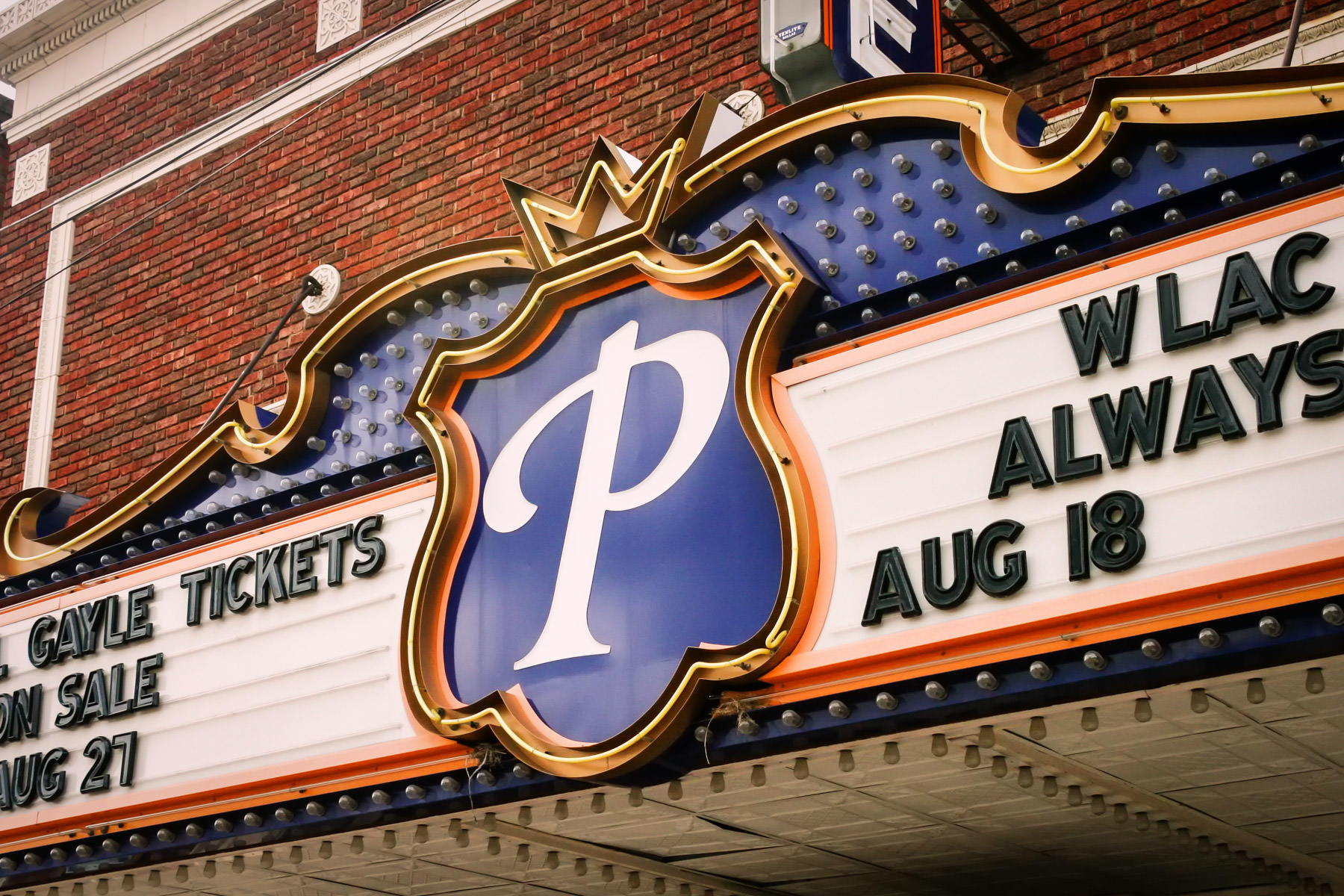 A theatre's marquee in Downtown Waxahachie, Texas.