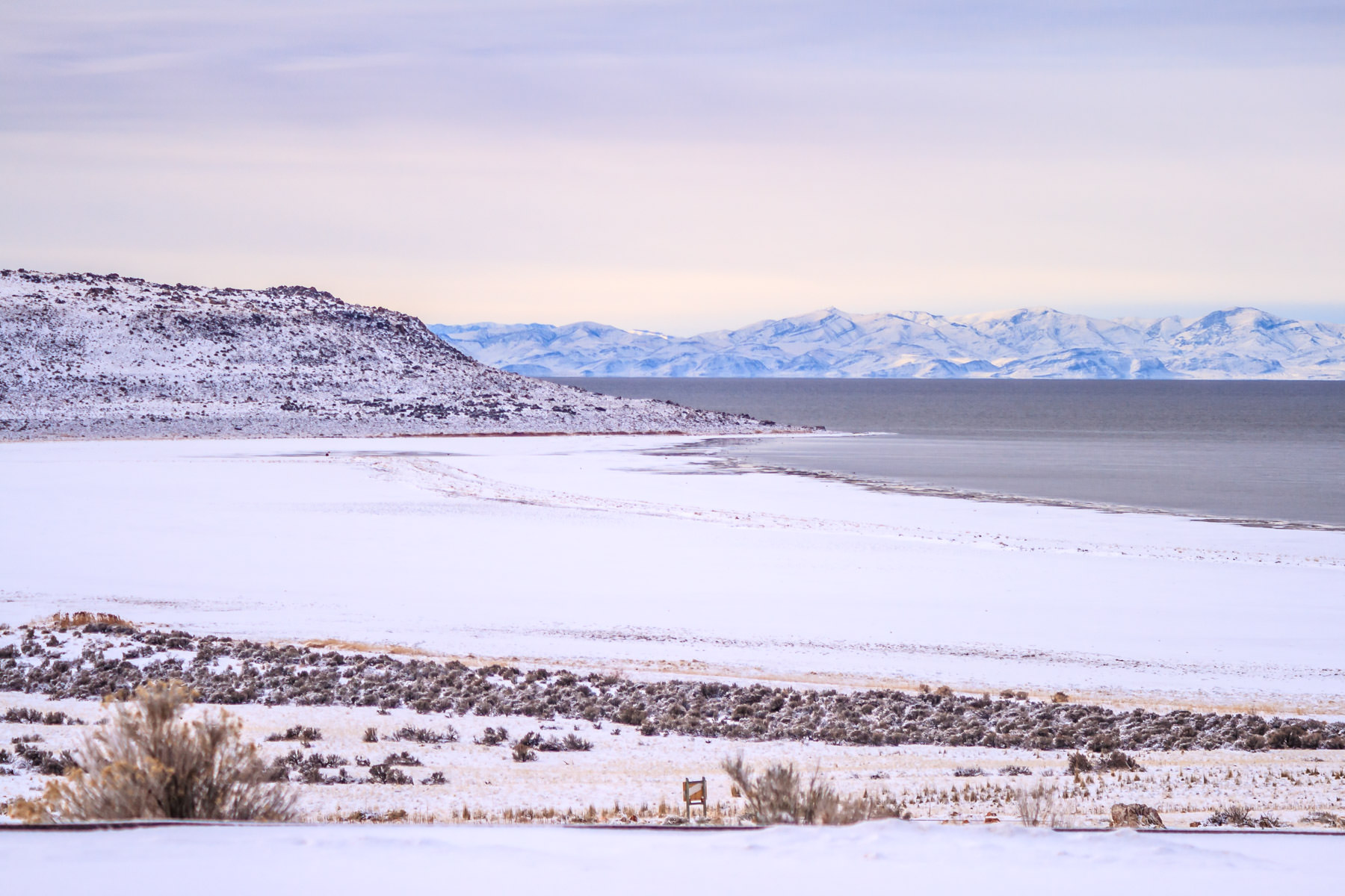 Looking from Antelope Island State Park across the Great Salt Lake, Utah.