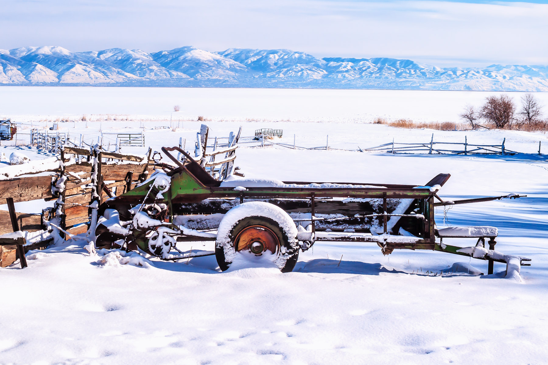 Old farm equipment at the Fielding Garr Ranch, Antelope Island State Park, Utah.