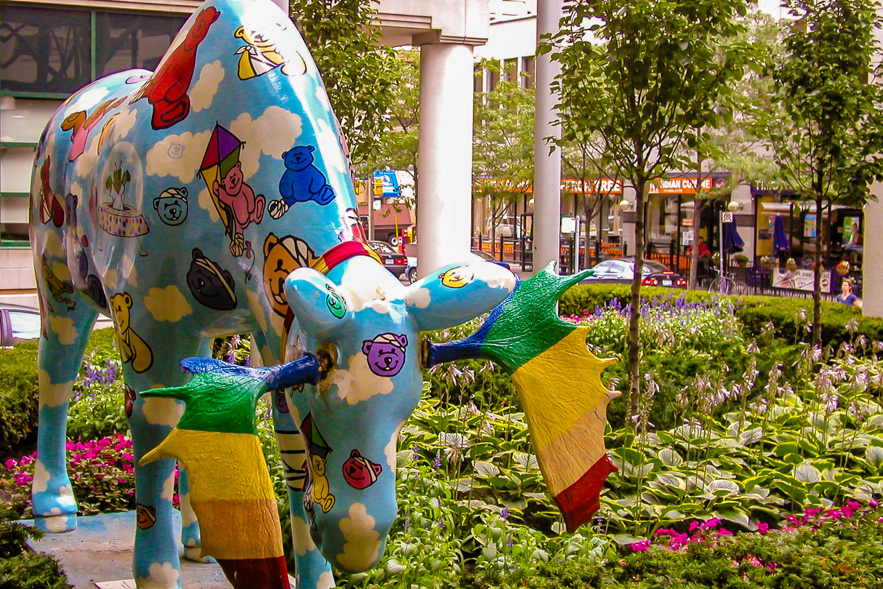 A decorated statue of a moose outside of Toronto's Hospital for Sick Children.