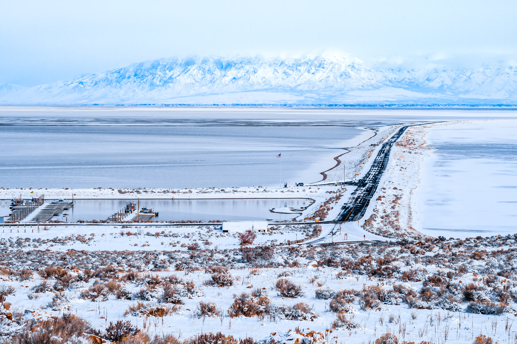 The bridge to Antelope Island, the Great Salt Lake, Utah.