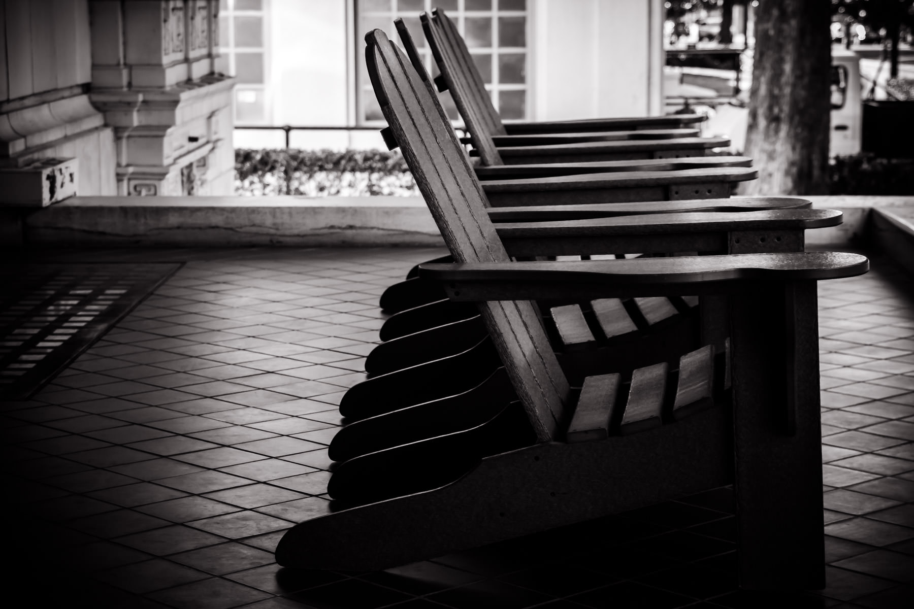 Adirondack chairs on the front steps of the Fordyce Bath House, Hot Springs, Arkansas.