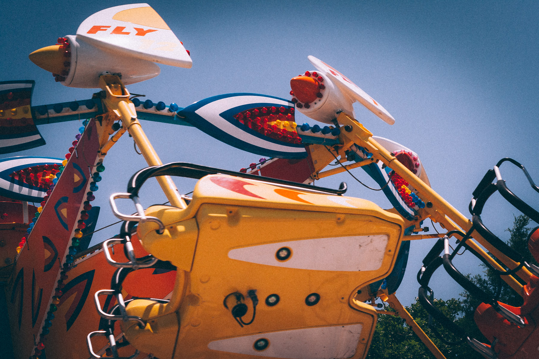 A thrill ride at an outdoor festival in Grapevine, Texas.