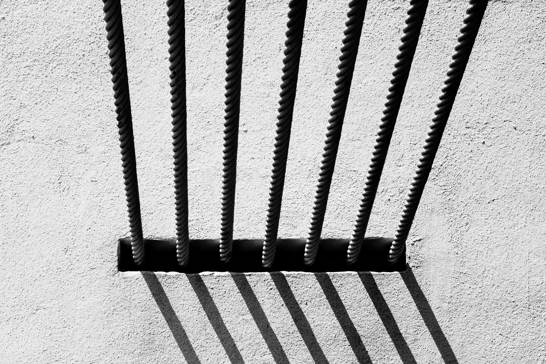 Detail of support cables at the Waco Suspension Bridge, Waco, Texas.