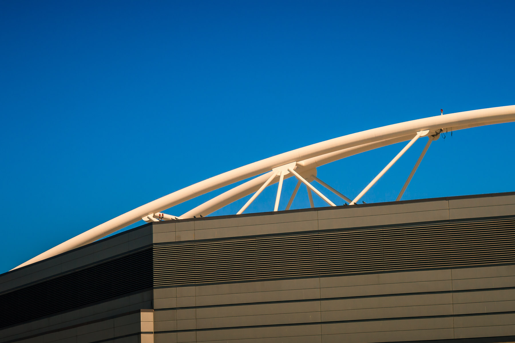 Decorative architectural elements on the roof of the Dallas Convention Center.