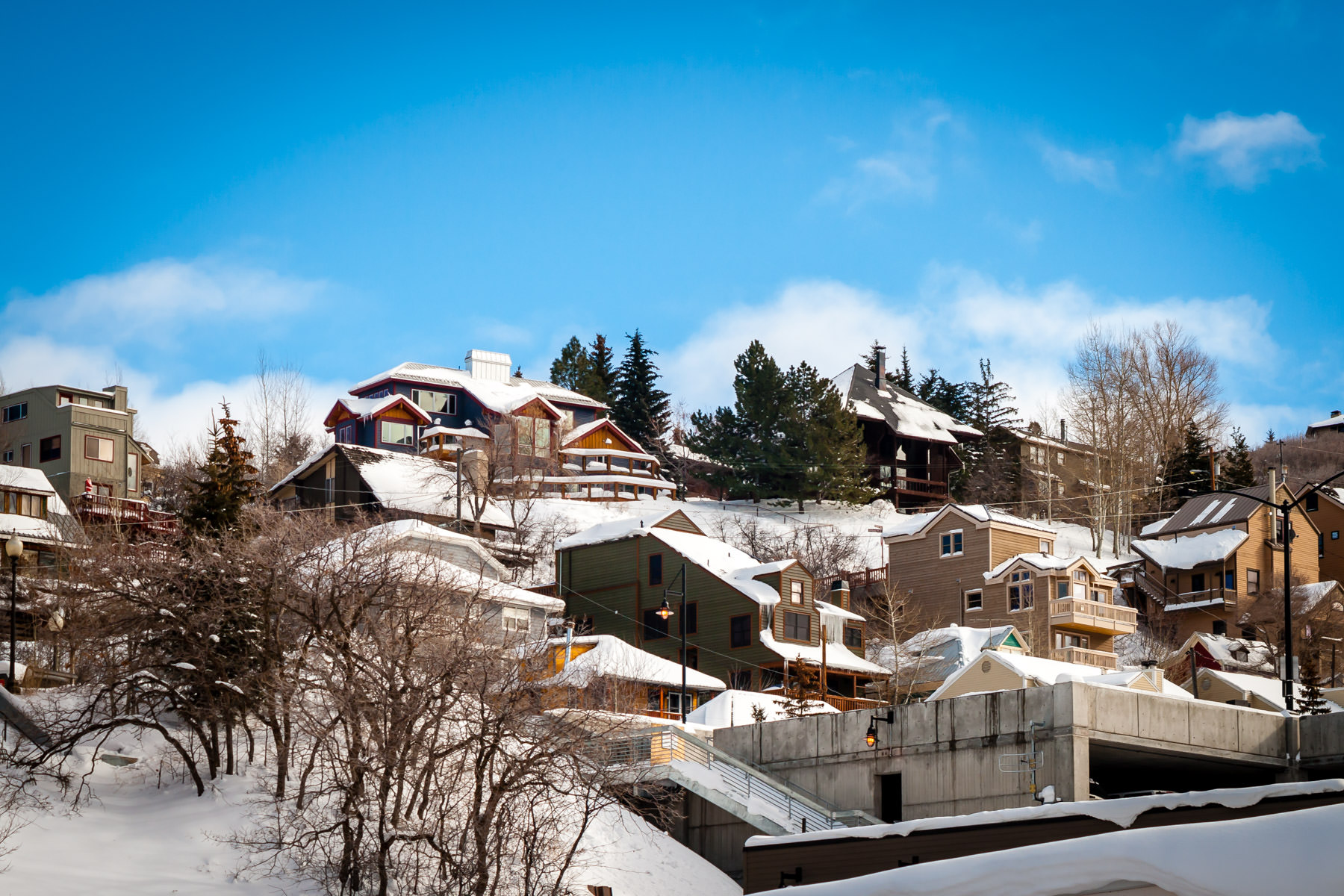 Snow-covered houses in Park City, Utah.
