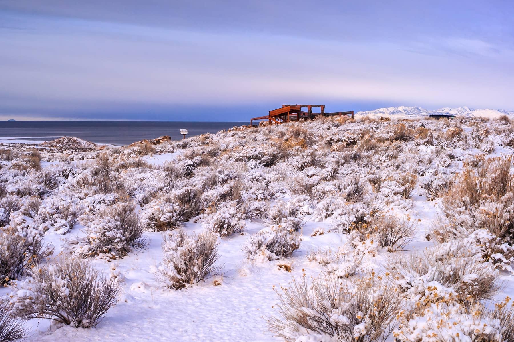 The visitors center in winter at Antelope Island State Park, Utah.