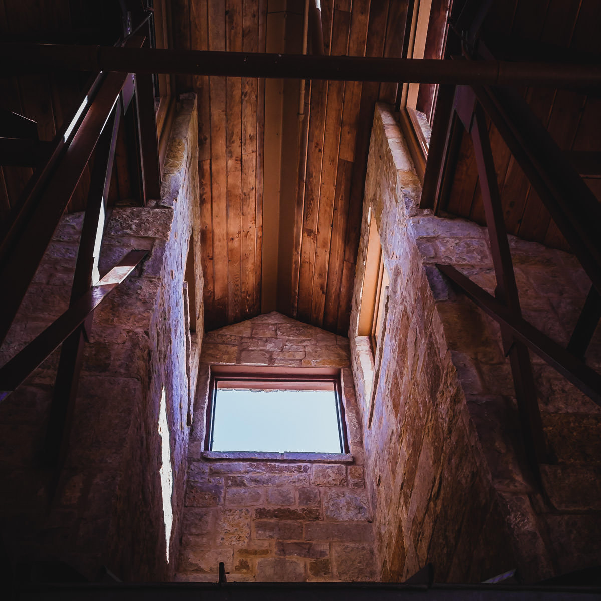 Sunlight illuminates the interior of this structure at the Arbor Hills Nature Preserve in Plano, Texas.