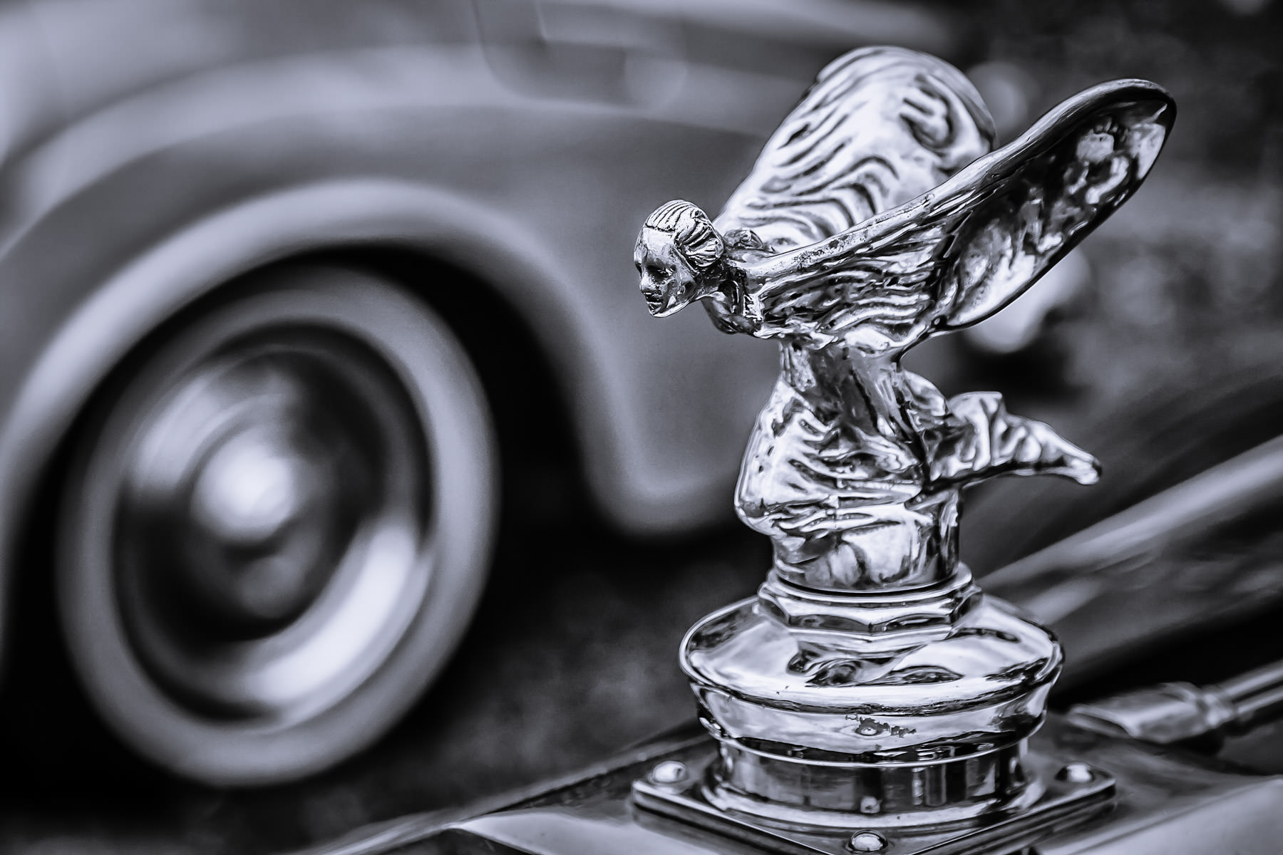 The hood ornament of a 1936 Rolls-Royce at Dallas' All British and European Car Day.