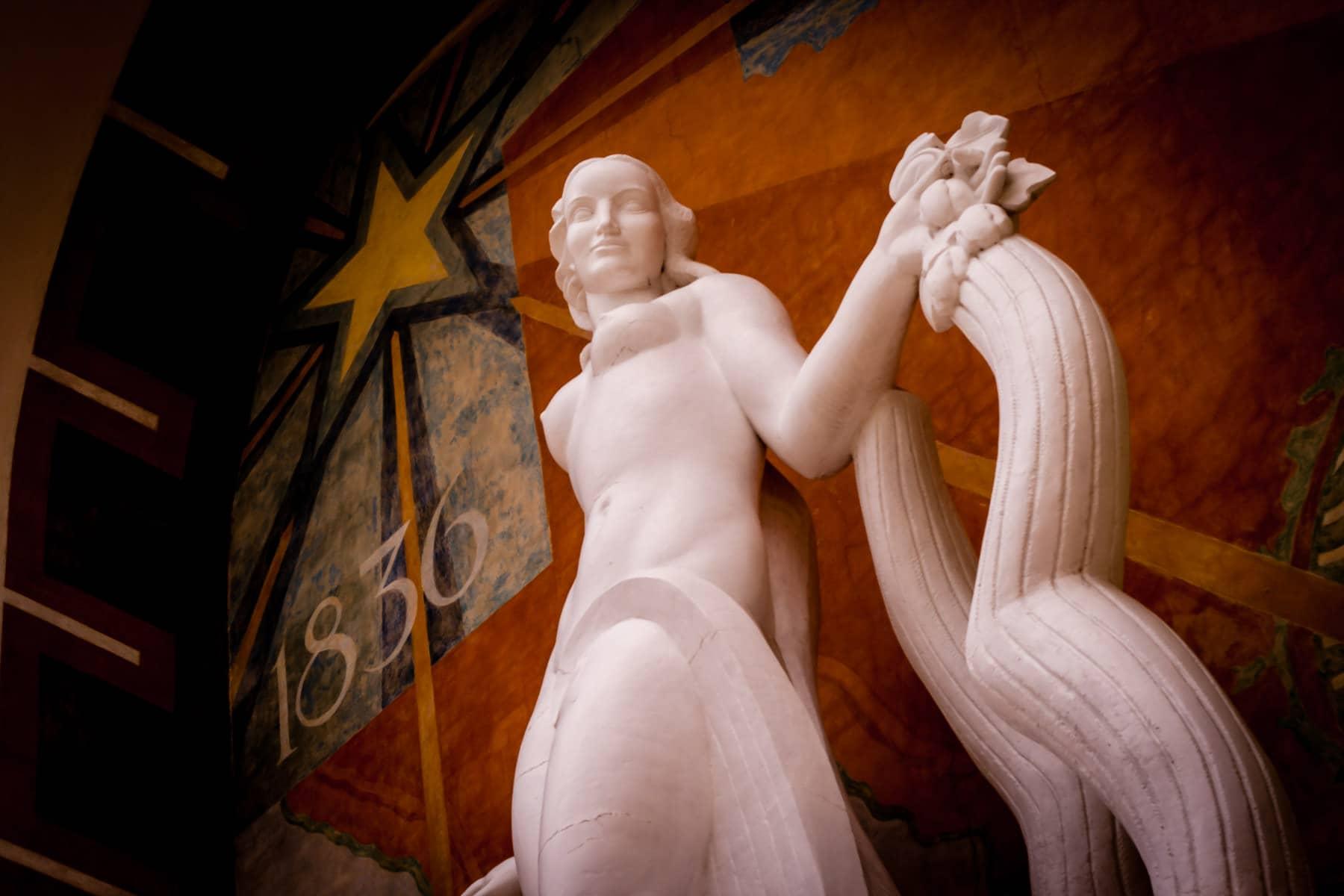 An Art Deco statue in Dallas' Fair Park.