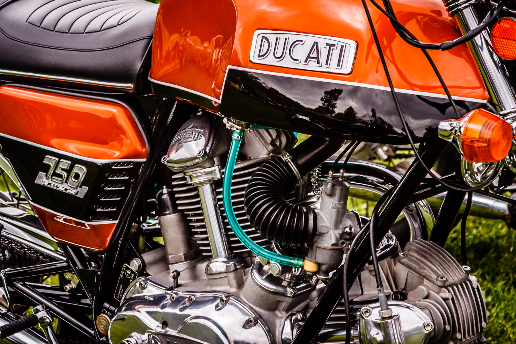 A classic Ducati motorcycle at Dallas' All British and European Car Day.