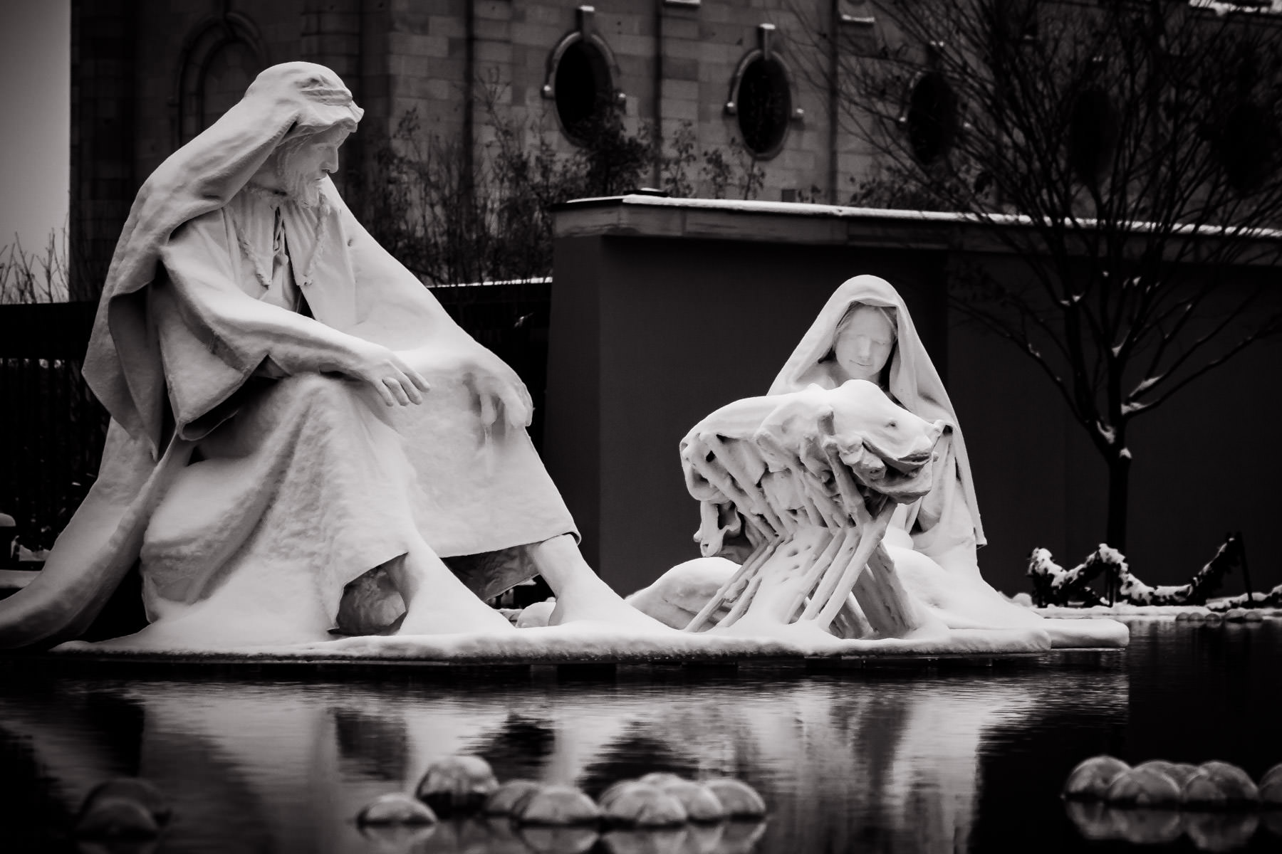A nativity scene seems to float on water in Salt Lake City's Temple Square.