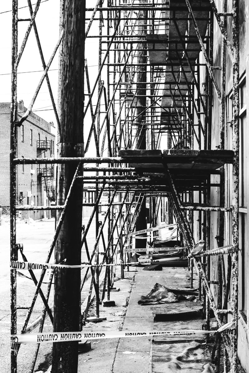 Scaffolds in Downtown Greenville, Texas.