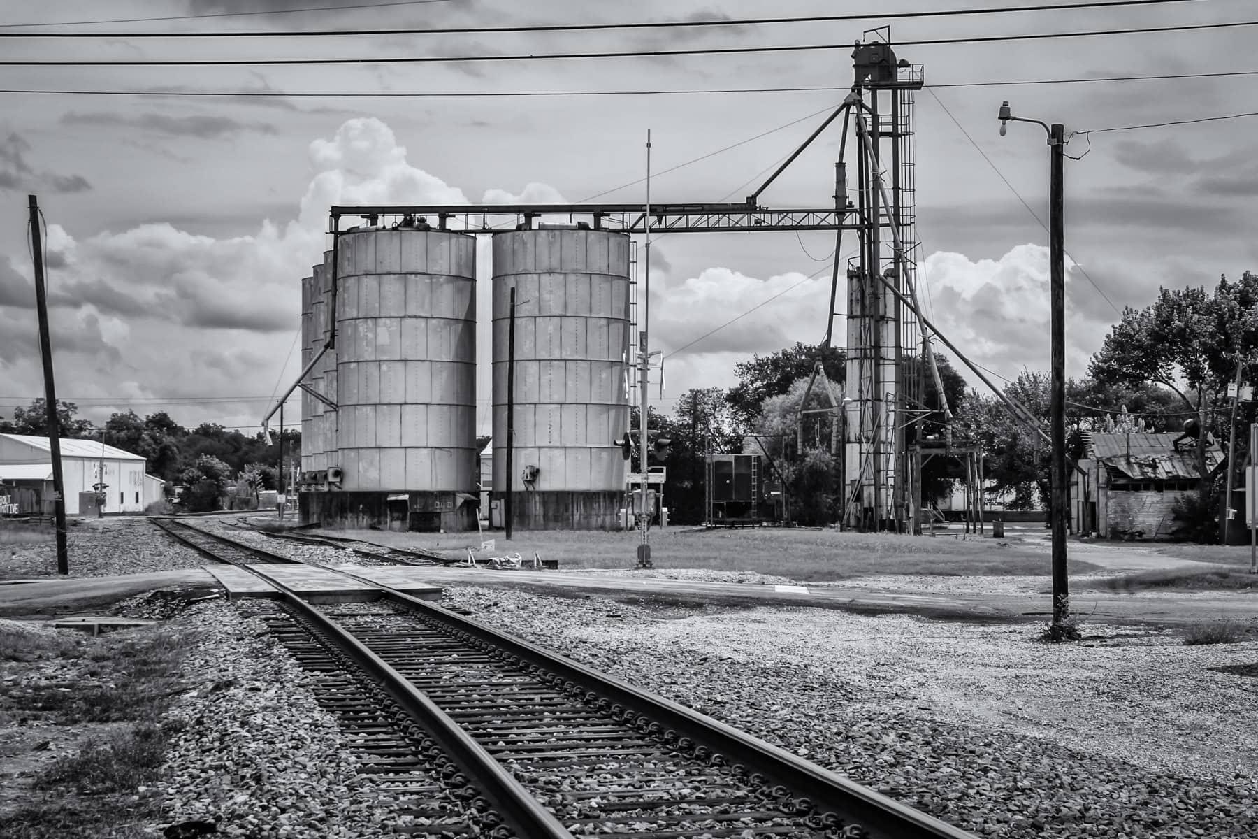 Silos and railroad tracks in Waxahachie, Texas.