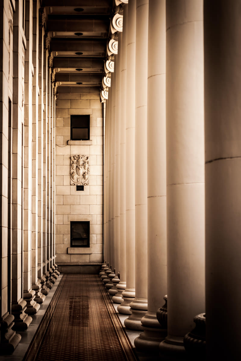 Columns along the front of the Jack K. Williams Administration Building at Texas A&M University, College Station, Texas.