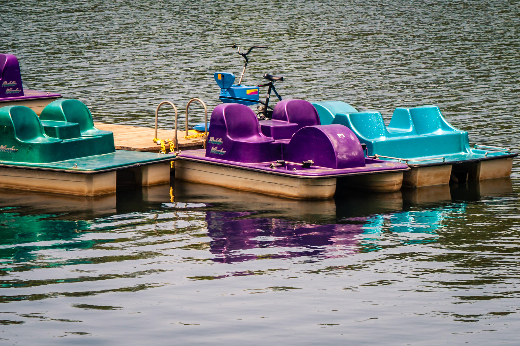 Paddle boats for rent at Tyler State Park, Texas.