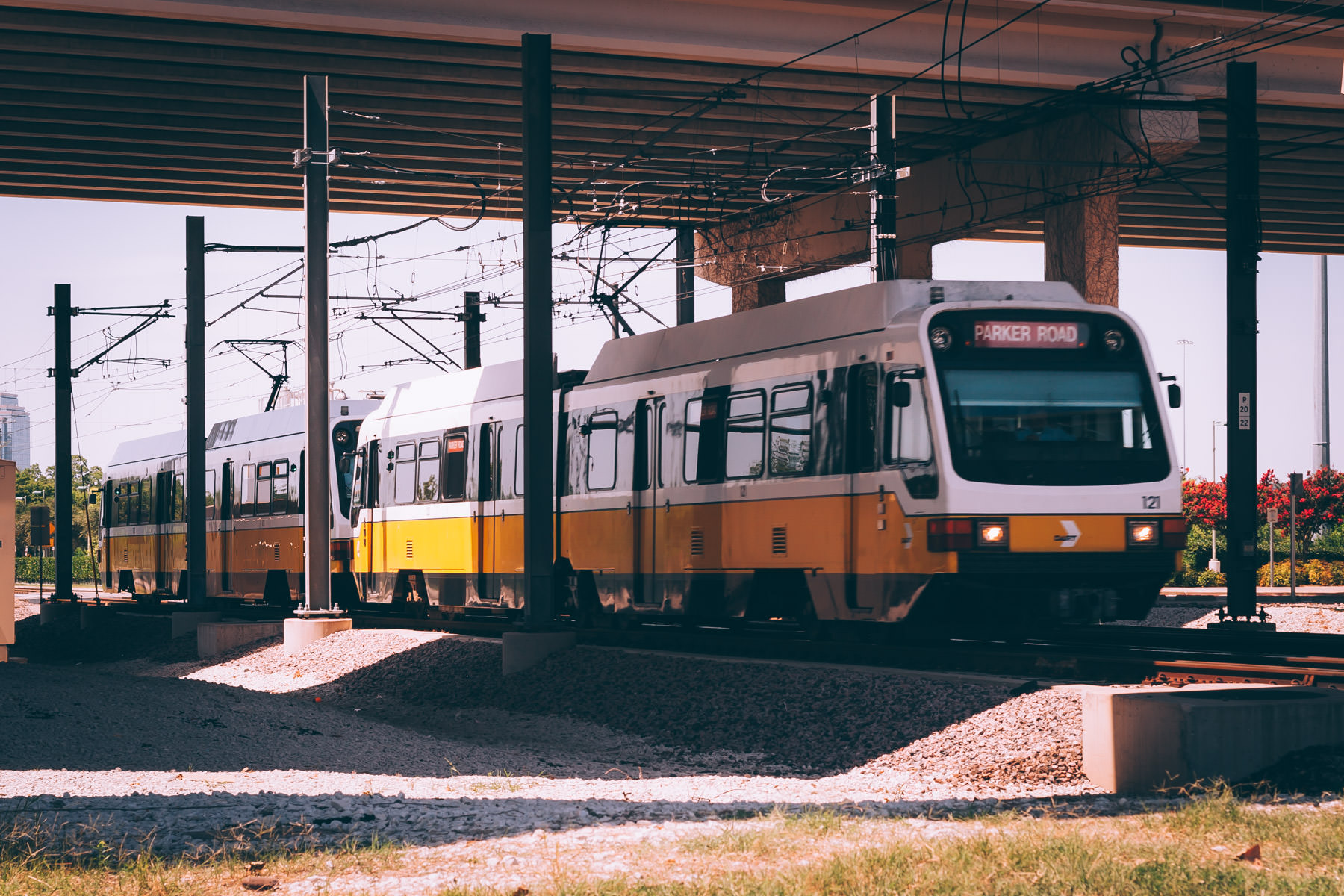A DART light rail train at Plano, Texas' Bush Turnpike Station.