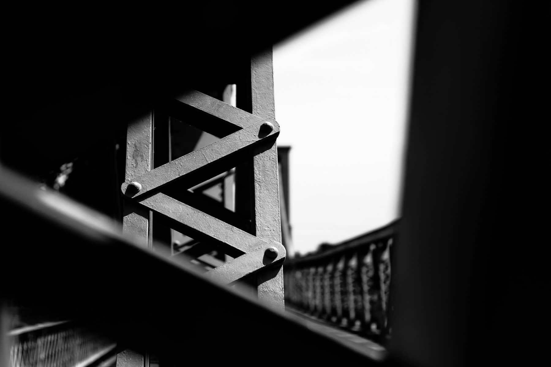 Iron work on the Waco Suspension Bridge, Texas.