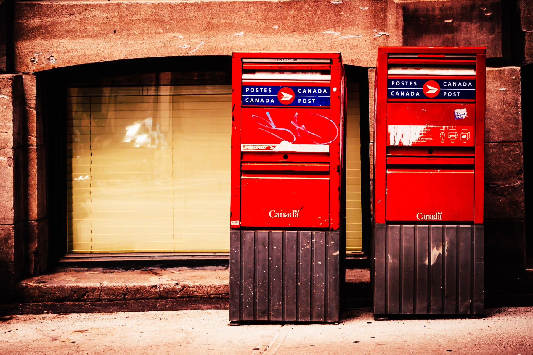 Canada Post mailboxes in Montréal.