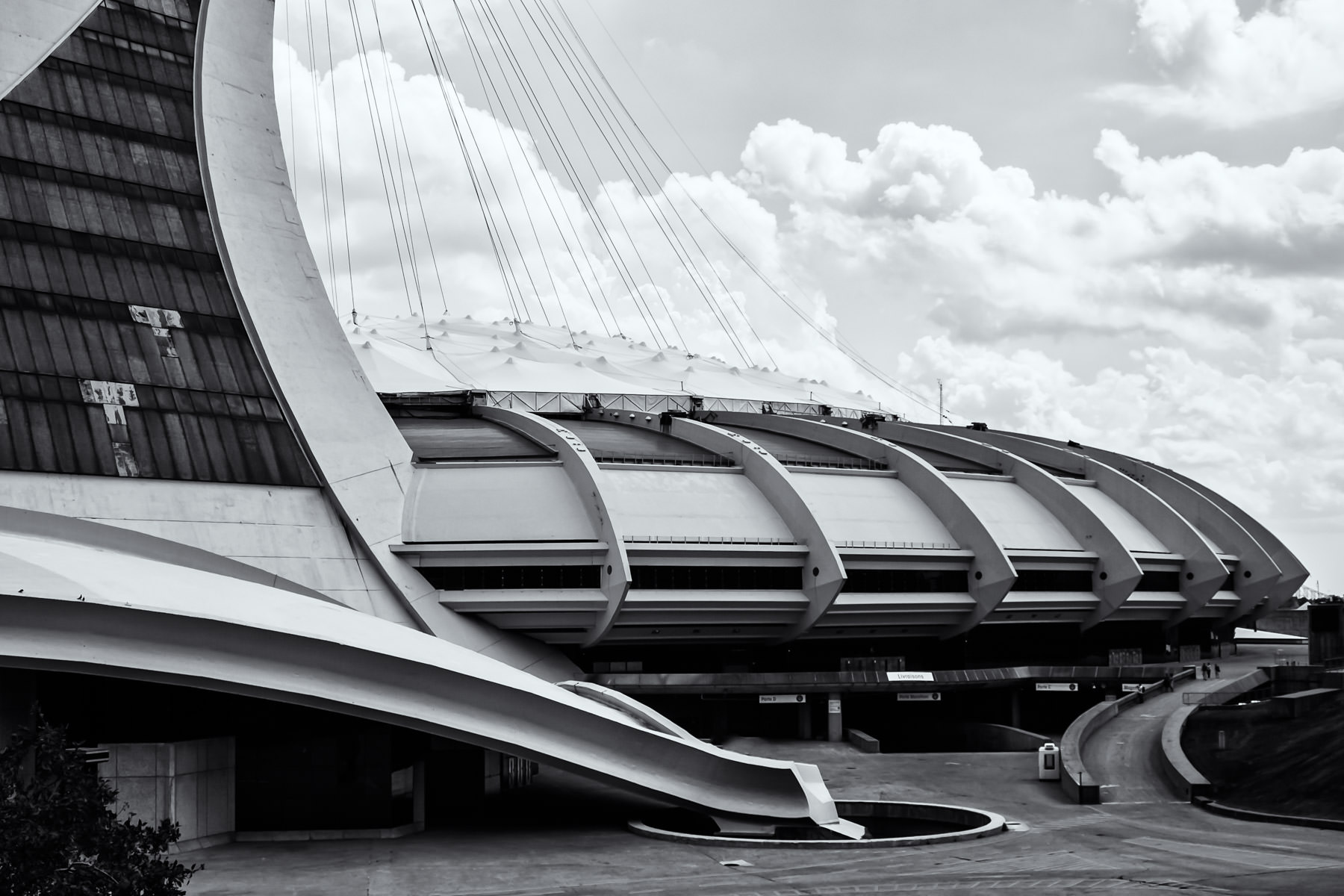 Montréal's Stade Olympique, lying in disrepair since the Expos decamped to Washington in 2004, resembles an alien craft in this shot.