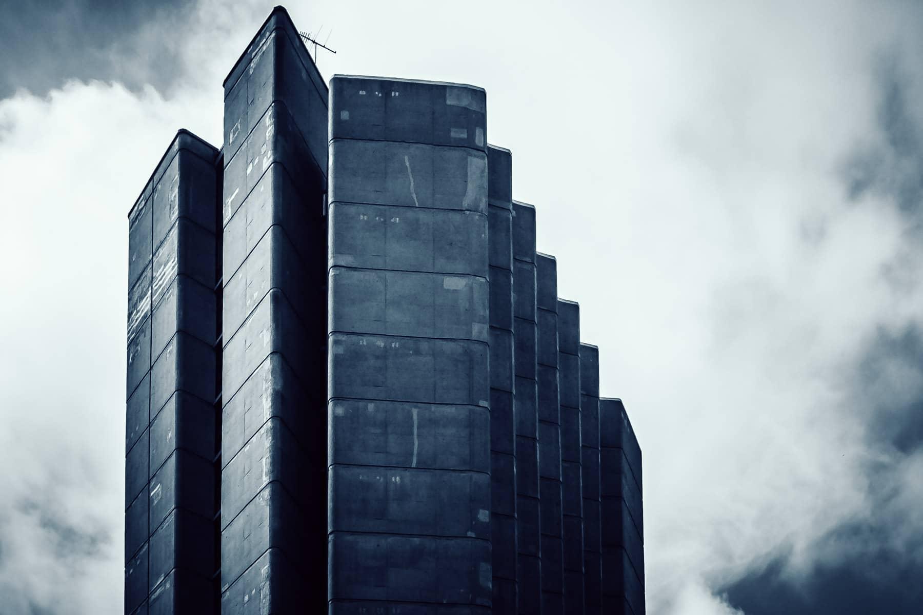 Detail of the upper floors of a high rise building on the campus of the Université de Montréal.