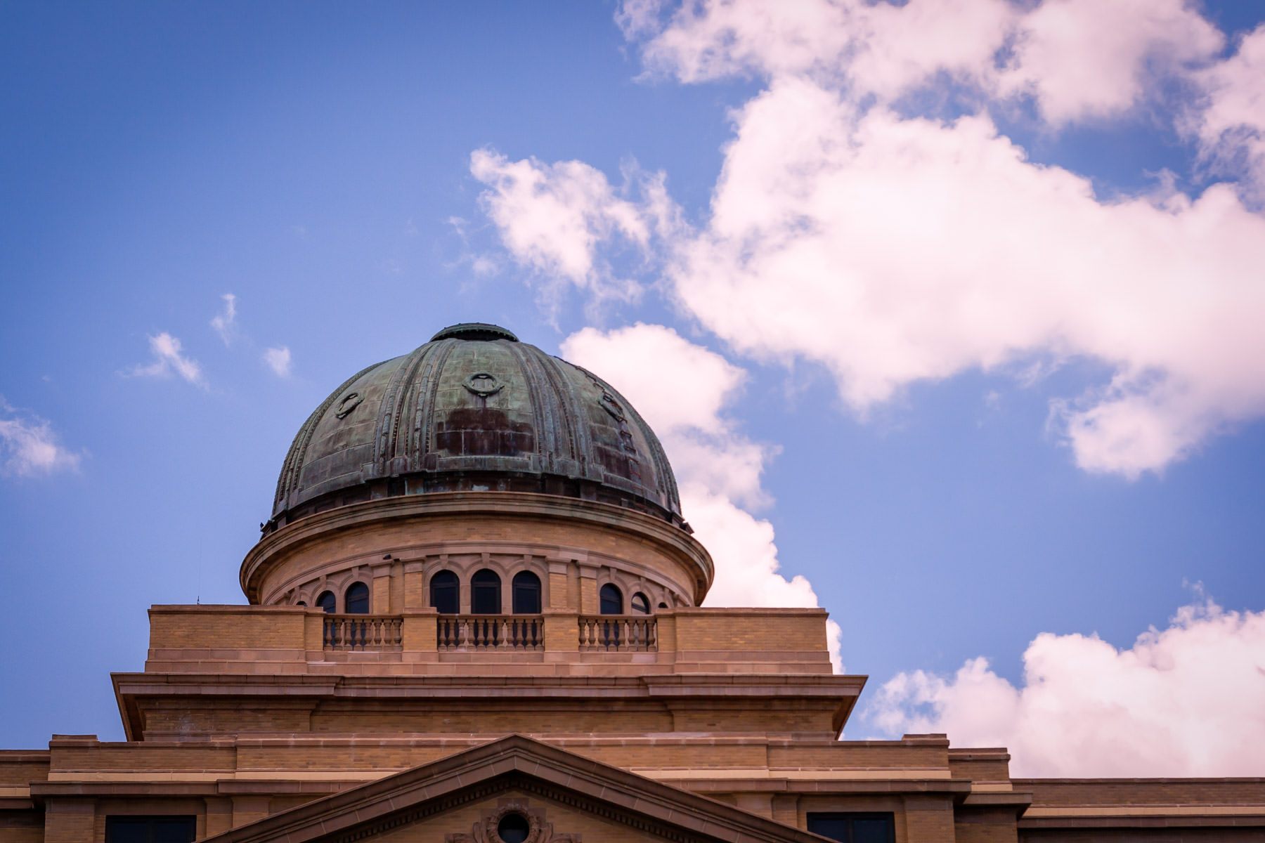 The tarnished bronze dome atop Texas A&M University's Academic Building.