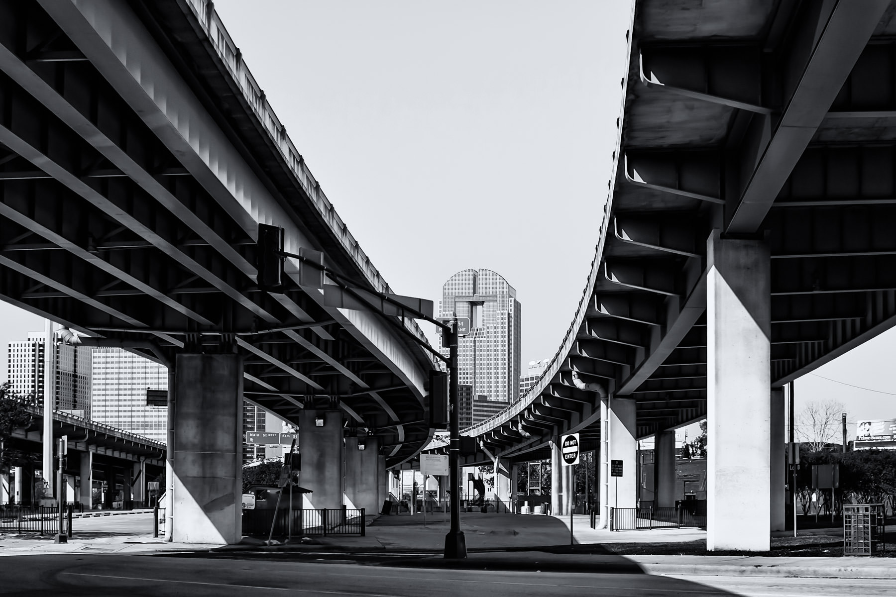 Bridges on US 75 as it passes over Good-Latimer Expressway in Dallas.