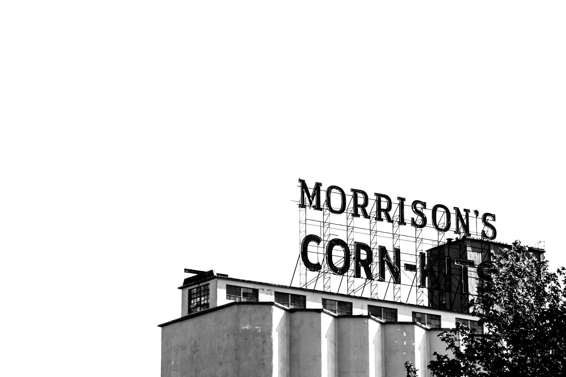 The sign for Morrison's Corn-Kits atop a grain silo in Denton, Texas.