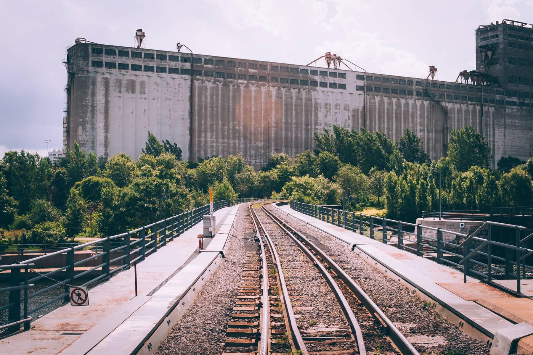 A massive grain silo along the Canal de Lachine in Vieux-Port de Montréal.