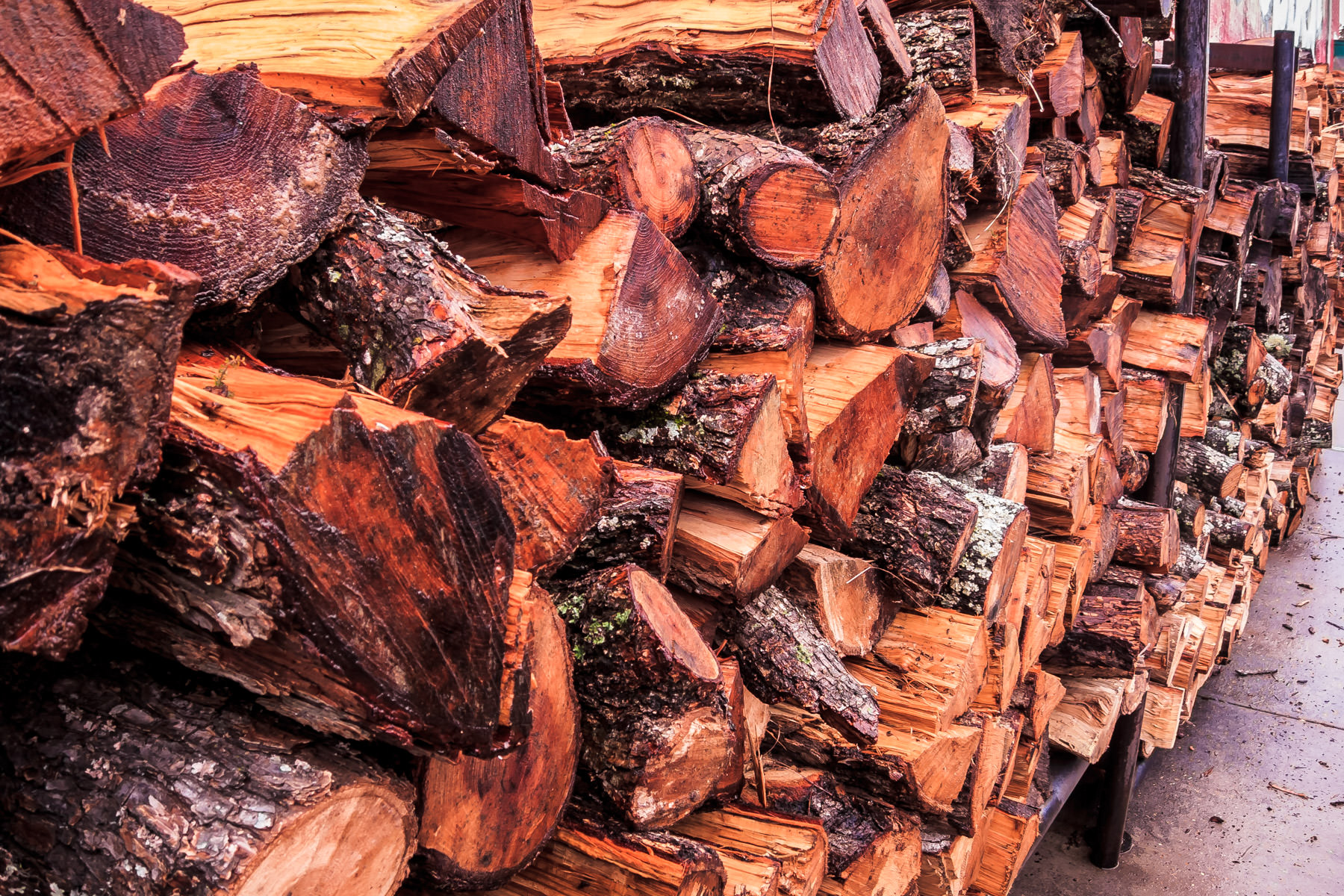 Firewood stacked in Jefferson, Texas.