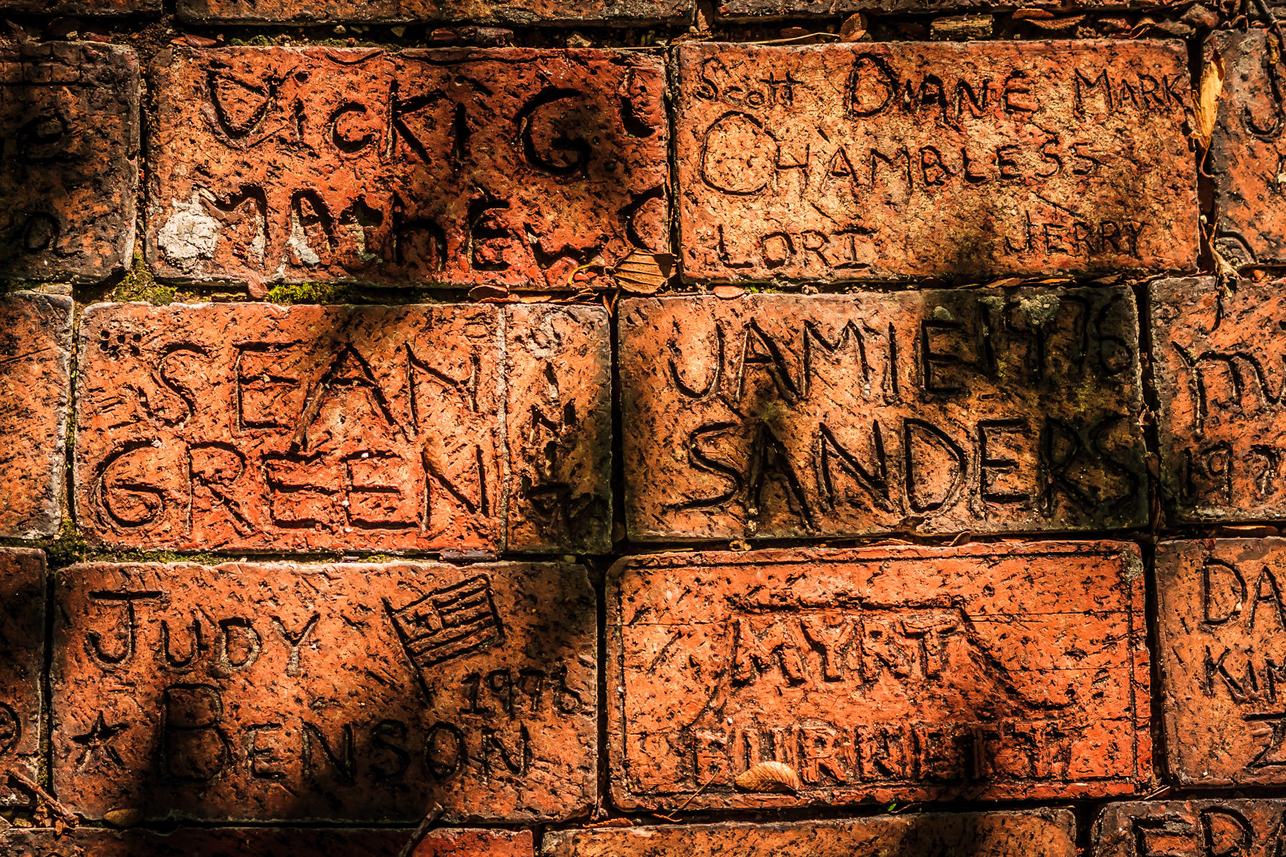 Bricks inscribed with names near the Tarrant County Courthouse, Fort Worth, Texas.